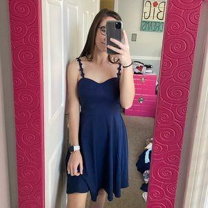 navy dress w/ flower straps